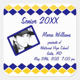 Senior Class of 20xx Blue and Gold Diamond Grad Square Sticker
