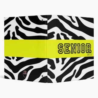 """Senior"" Class Yearbook Custom Binder in Zebra"