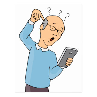 Senior Confused With Smartphone Postcard
