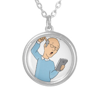 Senior Confused With Smartphone Round Pendant Necklace