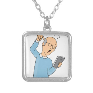 Senior Confused With Smartphone Square Pendant Necklace