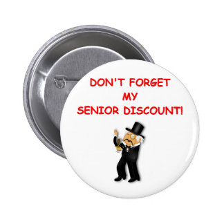 senior discount pinback button