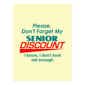 SENIOR DISCOUNT Postcard