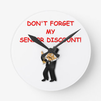 senior discount round wall clocks