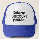 "Senior Discount Trucker Hat<br><div class=""desc"">Funny Senior Discount Mesh Hat</div>"