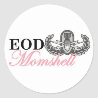 Senior eod badge momshell round stickers