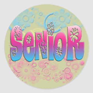 Senior - Flowers 2 Classic Round Sticker