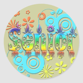 Senior - Flowers Classic Round Sticker