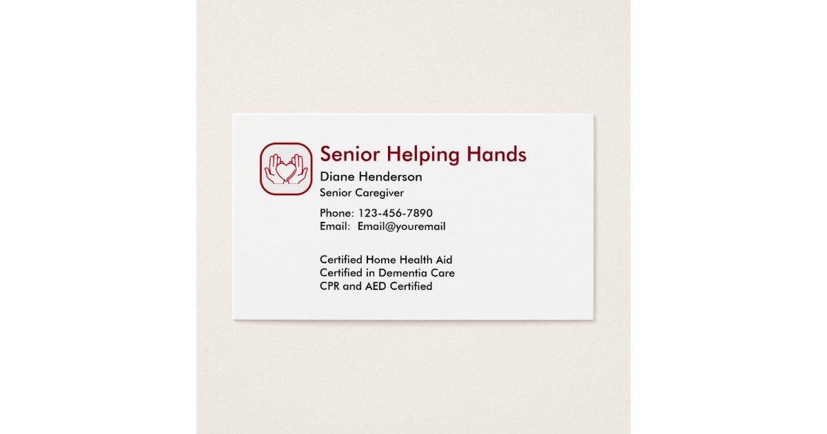 Senior Home Care Business Card | Zazzle.com