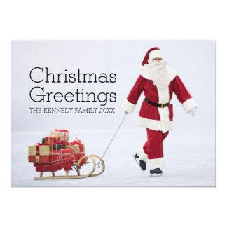 Senior man dressed as Santa Claus ice skating Card