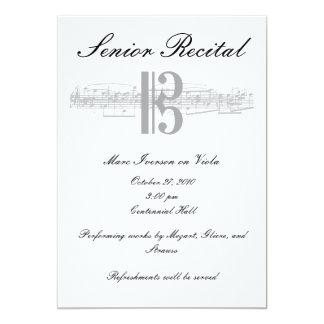 Senior Music Recital - Alto Clef 5x7 Paper Invitation Card