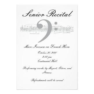 Senior Music Recital - Bass Clef Card