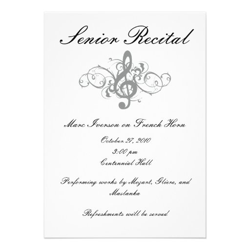 Music Recital Invitation Card  Recital Ideas