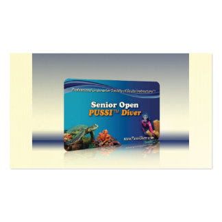 """""""Senior Open PUSSI Diver"""" Certification Card Business Card Templates"""