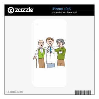 Senior Patient Doctor Relationship Cartoon iPhone 4 Decal
