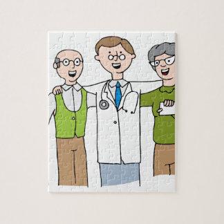 Senior Patient Doctor Relationship Cartoon Jigsaw Puzzle