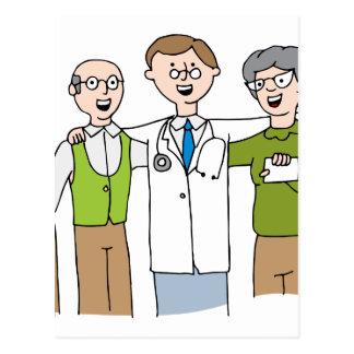 Senior Patient Doctor Relationship Cartoon Postcard