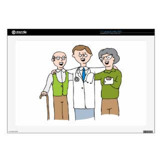 "Senior Patient Doctor Relationship Cartoon Skin For 17"" Laptop"