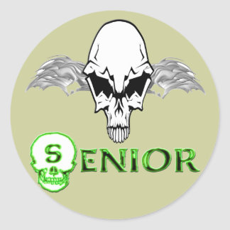 Senior - Skull Wings Classic Round Sticker