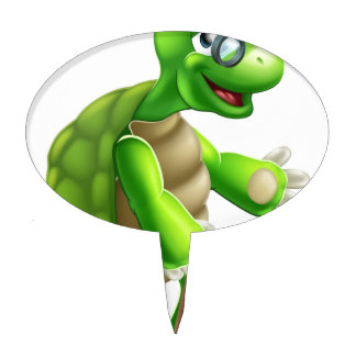 Senior Tortoise Cartoon Cake Pick