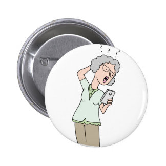 Senior woman confused new phone button