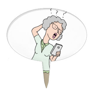 Senior woman confused new phone cake topper