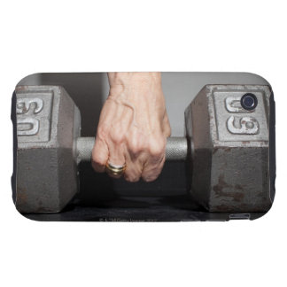 Senior woman lifting weights iPhone 3 tough covers