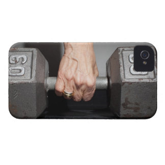 Senior woman lifting weights iPhone 4 Case-Mate case