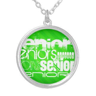 Seniors; Neon Green Stripes Round Pendant Necklace