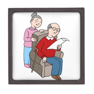 Seniors Reading Document Jewelry Box