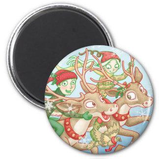 Seniors riding reindeer magnet