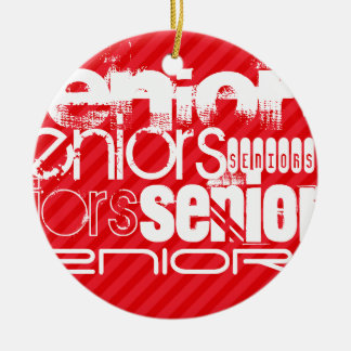 Seniors; Scarlet Red Stripes Double-Sided Ceramic Round Christmas Ornament