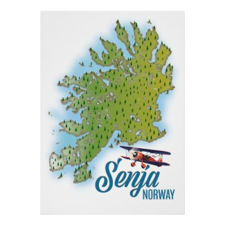 Senja Noway island map Poster
