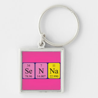Senna periodic table name keyring Silver-Colored square keychain