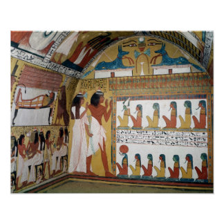 Sennedjem and his wife facing a naos poster