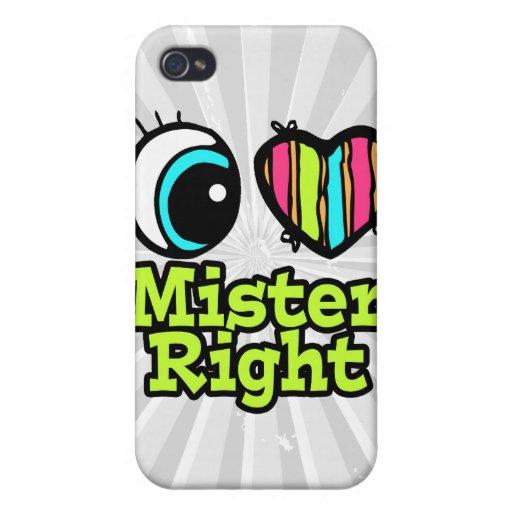 Señor brillante la Right del amor del corazón I de iPhone 4 Carcasa