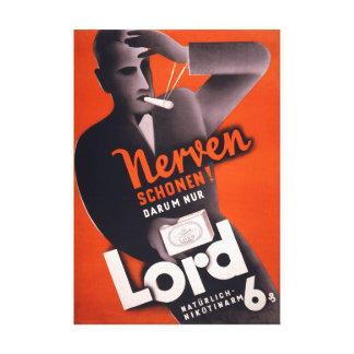 Señor Cigarettes german Vintage Poster restaurado Impresiones En Lienzo Estiradas