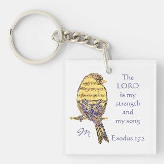 Señor de encargo Strength y canción de la Llavero Cuadrado Acrílico A Una Cara