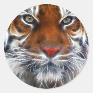 Señor de las selvas indias, el tigre de Bengala re Etiqueta Redonda