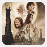 Señor de los anillos: El cartel de película de dos Calcomanía Cuadrada Personalizada