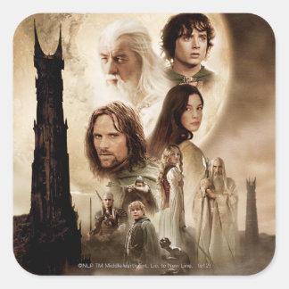 Señor de los anillos: El cartel de película de dos Pegatina Cuadrada