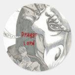 Señor del dragón etiquetas redondas
