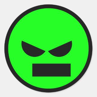 Señor enojado Anti-Smiley Face Sticker Pegatina Redonda