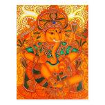 Señor floral anaranjado Ganesha del vintage Tarjeta Postal