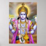 Señor floral hermoso Vishnu del vintage Posters