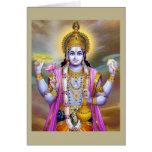 Señor floral hermoso Vishnu del vintage Felicitacion