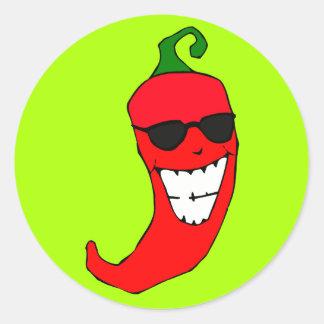 Señor fresco Red-hot Pepper Pegatina Redonda