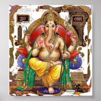 Señor Ganesh, gran dios hindú para la felicidad Póster