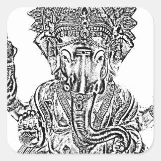Señor Ganesh Calcomanía Cuadrada Personalizada