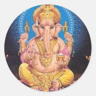 Señor Ganesh Round Sticker Etiquetas Redondas